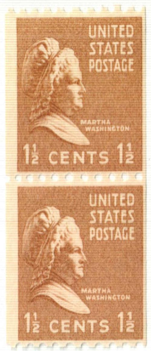 1939 1 1/2c Martha Washington, brown