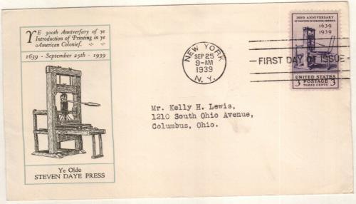 1939 3c Printing Tercentenary