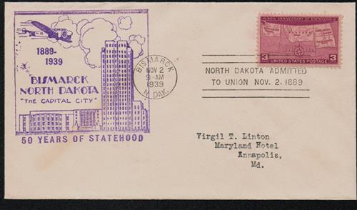 1939 3c Four States Statehood 50th Anniversary