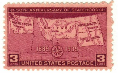 1939 3c Four States Statehood 50th Anniversary