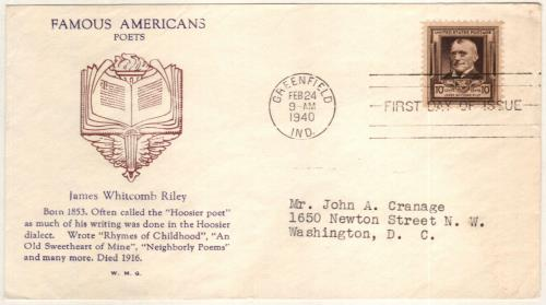 1940 Famous Americans: 10c James Whitcomb Riley