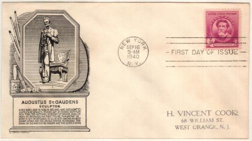 1940 Famous Americans: 3c Augustus Saint-Gaudens