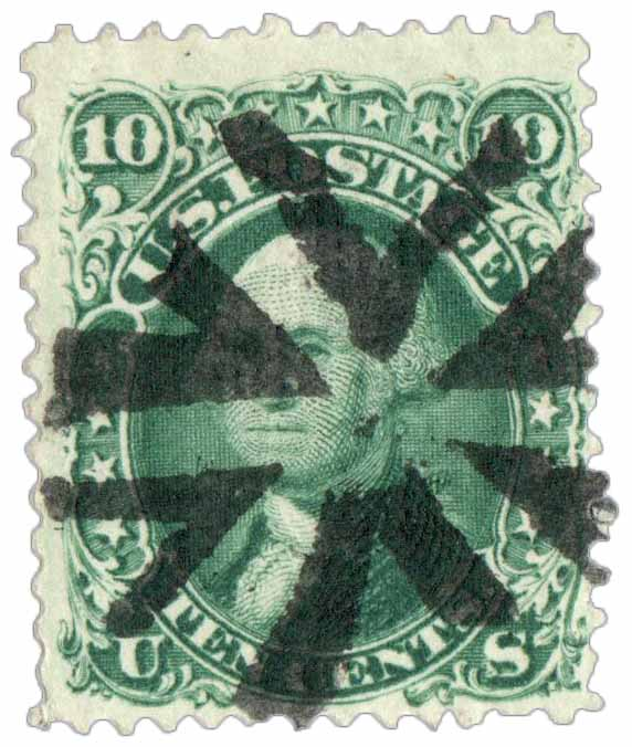 1867 10c Washington, green