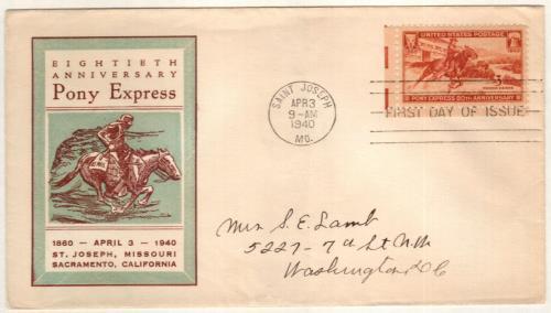 1940 3c Pony Express 80th Anniversary