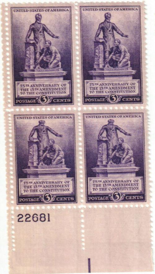 1940 3c Emancipation Memorial, 13th Amendment