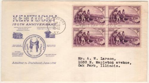 1942 3c Kentucky Statehood