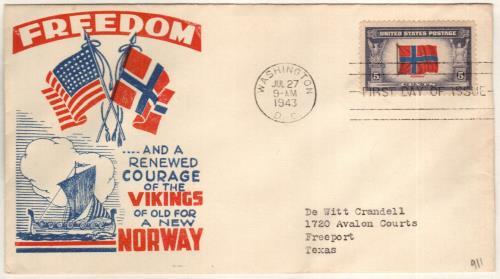 1943 5c Flag of Norway