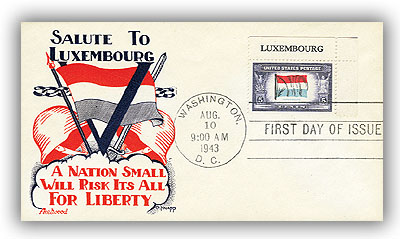 1943 Overrun Countries: 5c Flag of Luxembourg
