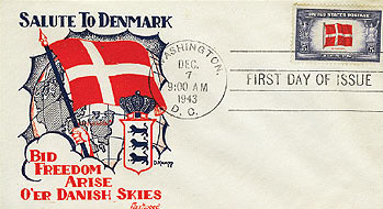 1943 Overrun Countries: 5c Flag of Denmark