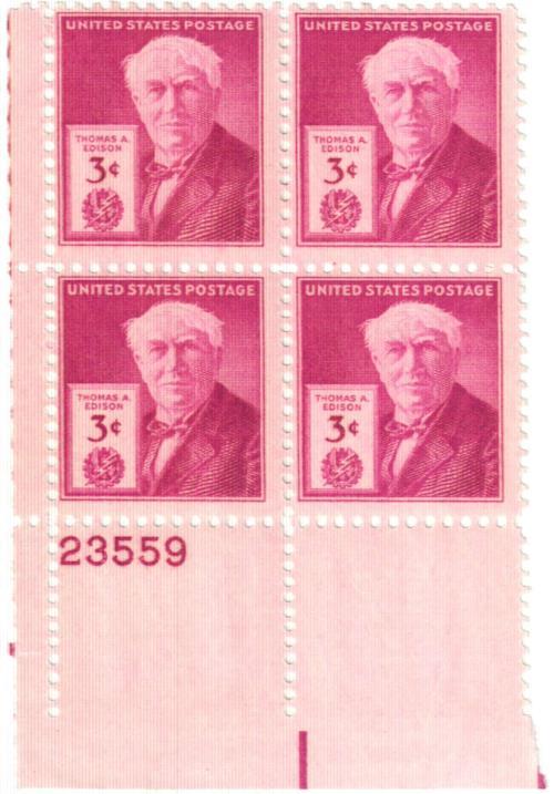 1947 3c Thomas A. Edison