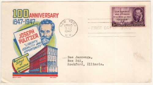 1947 3c Joseph Pulitzer