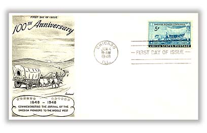 1948 5c Swedish Pioneer Centennial