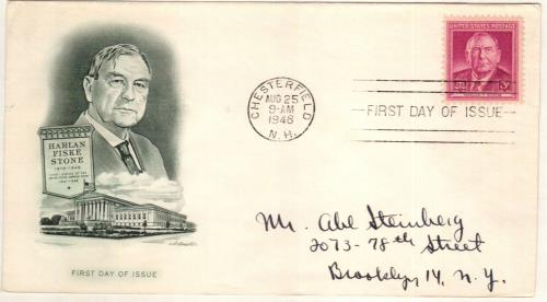 1948 3¢ Harlan F. Stone Classic First Day Cover