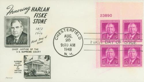 1948 3¢ Harlan F. Stone Fleetwood Plate Block First Day Cover