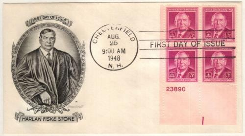 1948 3¢ Harlan F. Stone Plate Block First Day Cover