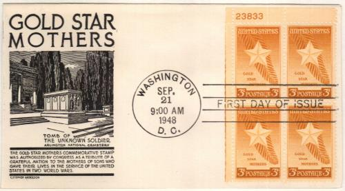 US Block of 4 with Informational Card Gold Star Mothers 969