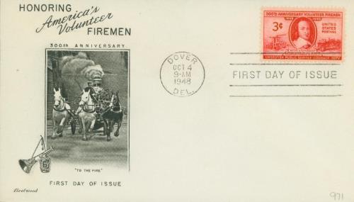 1948 3c Volunteer Firemen 300th Anniversary