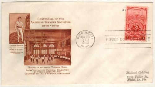1948 3c American Turners Society 100th Anniversary