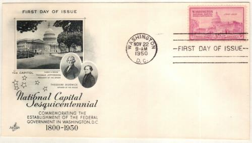 1950 3c National Capitol Sesquicentennial: U.S. Capitol Building
