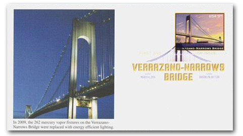 U.S. #4872 FDC – 2014 Verrazano Bridge First Day Cover.