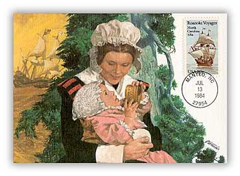 1984 20c Roanoke Voyages Maximum Card