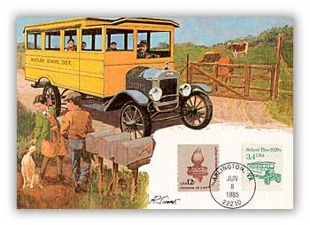 1985 3 4c School Bus Maximum Card for sale at Mystic Stamp