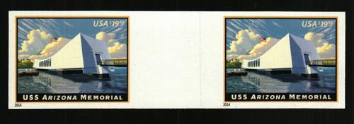 2014 $19.99 Imperf USS Arizona Memorial