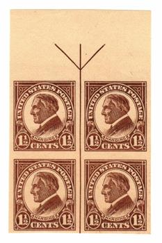 1925 1 1/2c Harding, imperforate, yellow brown