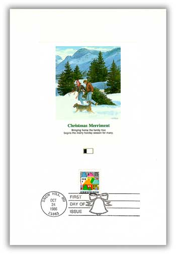 1986 22c Contemporary Christmas: Winter Village Scene