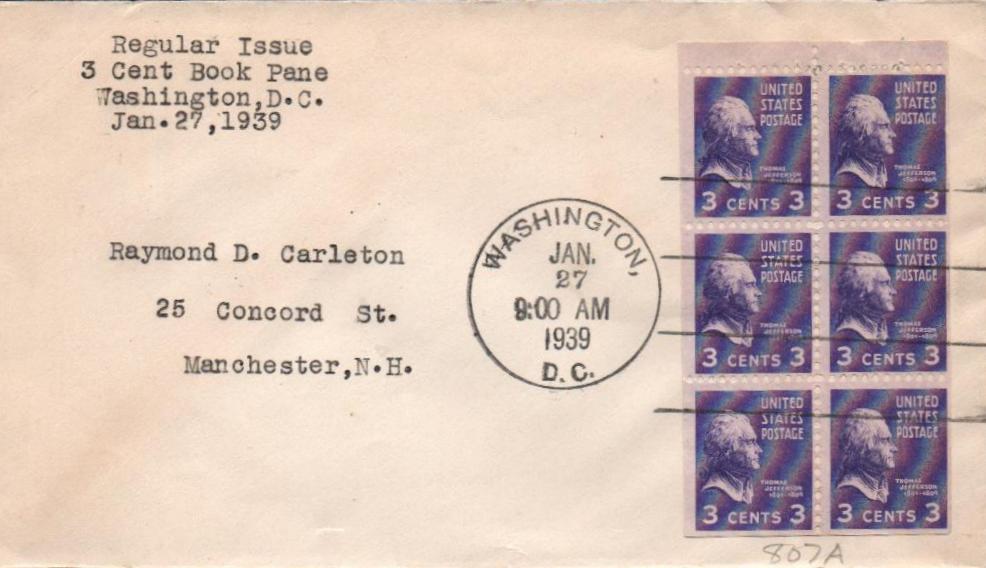 1938 3c Thomas Jefferson,bklt pane of 6