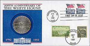 1992 White House Bicentennial Coin Cover