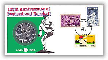 1994 Babe Ruth Coin in Cover