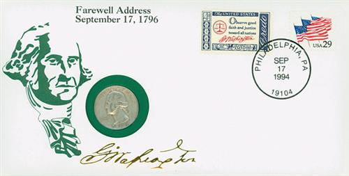 1994 1954 Farewell Address Comm Coin Cover