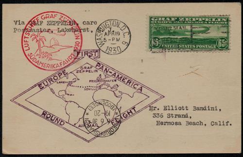 1930 65¢ Graf Zeppelin green