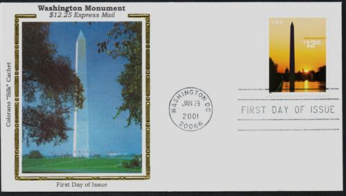 U.S. #3473 FDC – Washington Monument Silk Cachet First Day Cover.