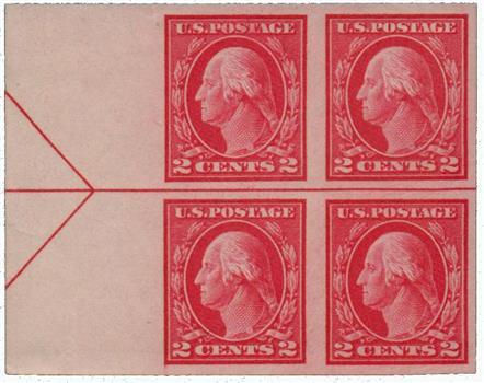 1916-17 2c Washington, carmine, imperforate, type I