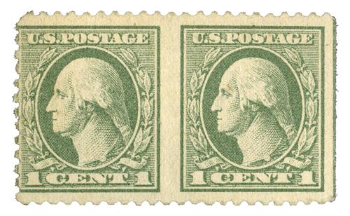 1918 1c gray green, Horiz. pair, imperf