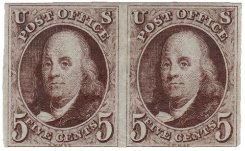 1847 5c Benjamin Franklin, red-brown, thin bluish wove paper, imperforate