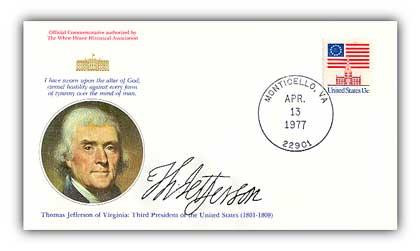 1977 Thomas Jefferson Commemorative Cover