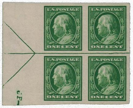 1908 1c Franklin, green, double line watermark, imperforate