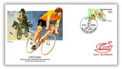 1988 Belgium Olympics 13fr,3fr Cycling'