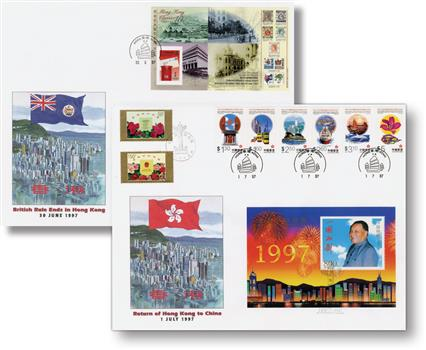 1997 Hong Kong Returns to China, 2 First Day Covers