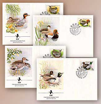 1988 Hungary Ducks FDC Set of 4 for sale at Mystic Stamp Company