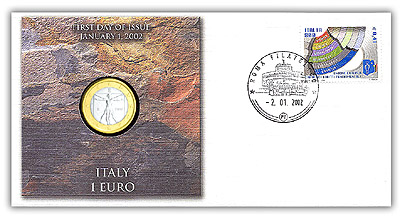 2002 Italy 1-euro Coin Cover