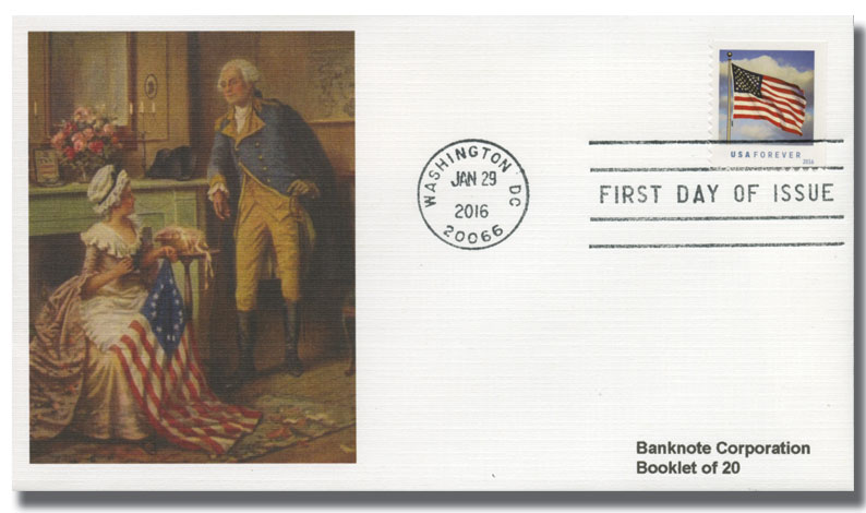 2016 First-Class Forever Stamp - U.S. Flag (Ashton Potter, booklet)