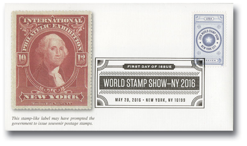 2016 First-Class Forever Stamp - World Stamp Show: Blue Vignette
