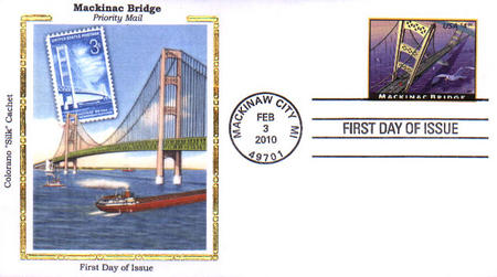 U.S. #4438 FDC – 2010 Mackinac Bridge First Day Cover.