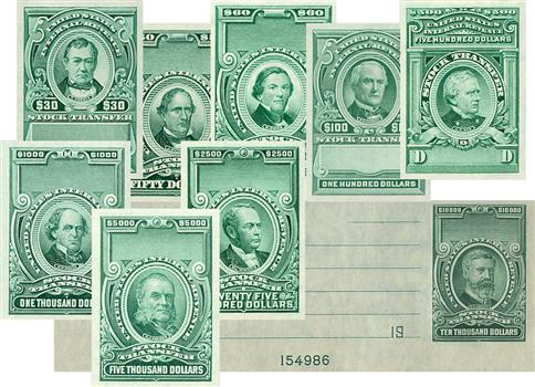 1940-44 $30-$10,000 Stock Transfer Stamps - ONLY 1 LEFT! Set includes 9 unfinished, imperforate stamps, with tabs