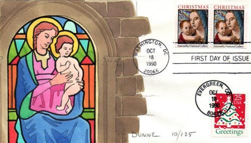 1990 25c Madonna & Child
