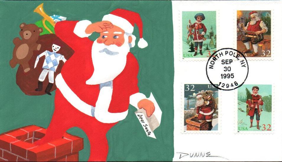 1995 32c Contemporary Christmas: Santa and Children